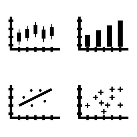 plotter: Set Of Statistics Icons On Plotter Point Chart, Scatter Chart, Bar Chart And More. Premium Quality Eps10 Vector Illustration For Mobile, App, Ui Design.