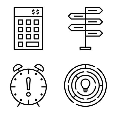 decision making: Set Of Project Management Icons On Decision Making, Creativity And Deadline. Project Management Vector Icons For App, Web, Mobile And Infographics Design. Illustration