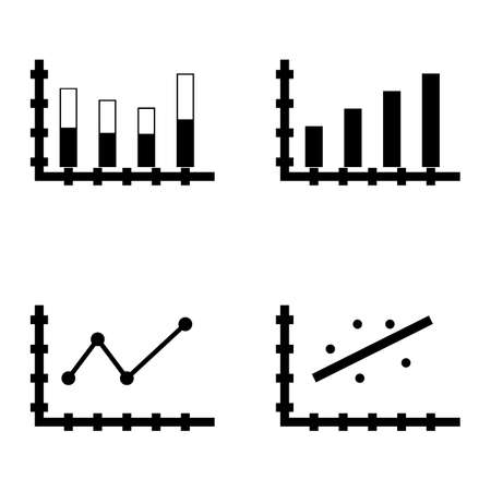 scatter: Set Of Statistics Icons On Scatter Chart, Stacked Bar, Bar Chart And More. Premium Quality Eps10 Vector Illustration For Mobile, App, Ui Design.