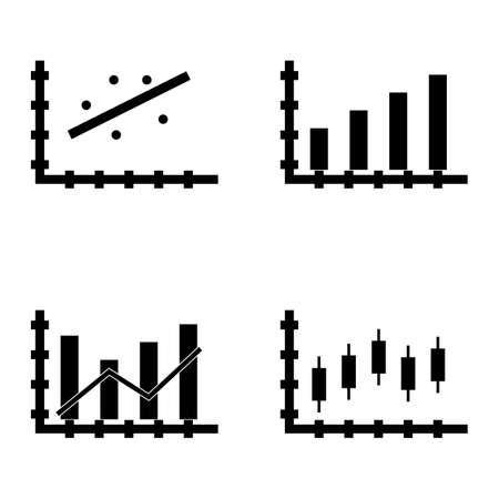 scatter: Set Of Statistics Icons On Candles Chart, Dynamics Graph, Scatter Chart And More. Premium Quality Eps10 Vector Illustration For Mobile, App, Ui Design.