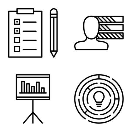 personality development: Set Of Project Management Icons On Personality, Creativity And Task List. Project Management Vector Icons For App, Web, Mobile And Infographics Design.