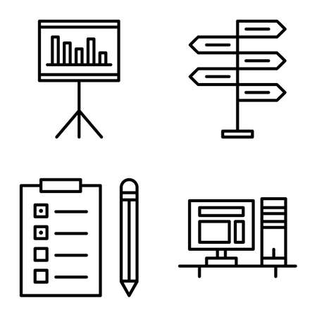 task list: Set Of Project Management Icons On Decision Making, Task List And Statistics. Project Management Vector Icons For App, Web, Mobile And Infographics Design.