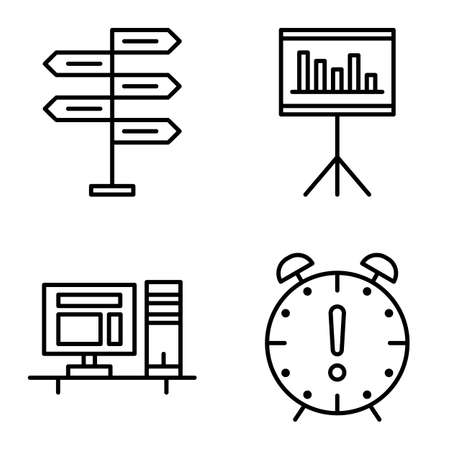 decision making: Set Of Project Management Icons On Decision Making, Deadline And Statistics. Project Management Vector Icons For App, Web, Mobile And Infographics Design.