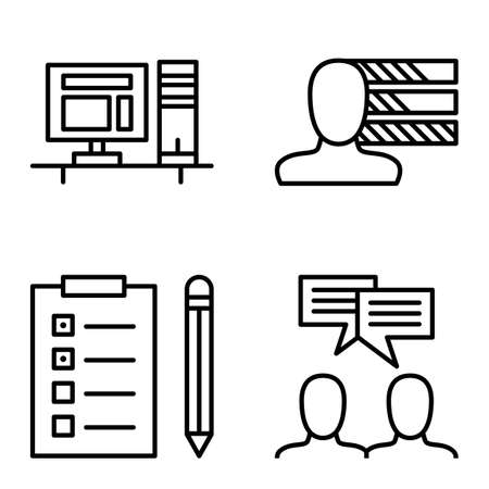 task list: Set Of Project Management Icons On Personality, Idea Brainstorming And Task List. Project Management Vector Icons For App, Web, Mobile And Infographics Design.