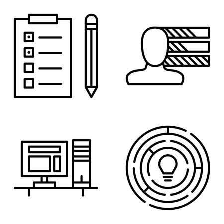 task list: Set Of Project Management Icons On Personality, Creativity And Task List. Project Management Vector Icons For App, Web, Mobile And Infographics Design.