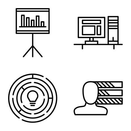 personality development: Set Of Project Management Icons On Personality, Creativity And Statistics. Project Management Vector Icons For App, Web, Mobile And Infographics Design.