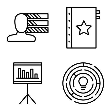 personality development: Set Of Project Management Icons On Personality, Creativity And Quality Management. Project Management Vector Icons For App, Web, Mobile And Infographics Design.