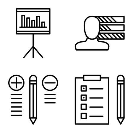 personality development: Set Of Project Management Icons On Personality, Best Solution And Task List. Project Management Vector Icons For App, Web, Mobile And Infographics Design. Illustration