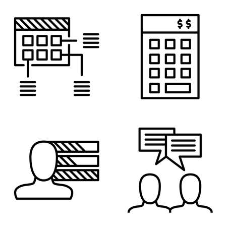 personality development: Set Of Project Management Icons On Personality, Idea Brainstorming And Planning. Project Management Vector Icons For App, Web, Mobile And Infographics Design.