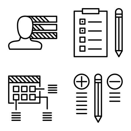 personality development: Set Of Project Management Icons On Personality, Best Solution And Planning. Project Management Vector Icons For App, Web, Mobile And Infographics Design.