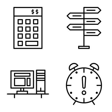 decision making: Set Of Project Management Icons On Decision Making, Deadline And Investment. Project Management Vector Icons For App, Web, Mobile And Infographics Design. Illustration