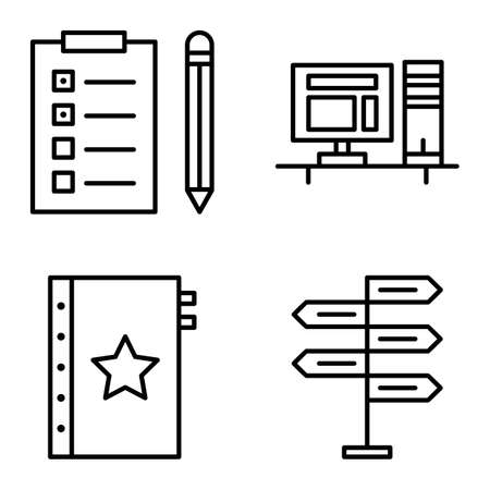 task list: Set Of Project Management Icons On Decision Making, Task List And Quality Management. Project Management Vector Icons For App, Web, Mobile And Infographics Design.