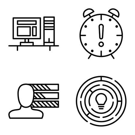 personality development: Set Of Project Management Icons On Personality, Creativity And Deadline. Project Management Vector Icons For App, Web, Mobile And Infographics Design.