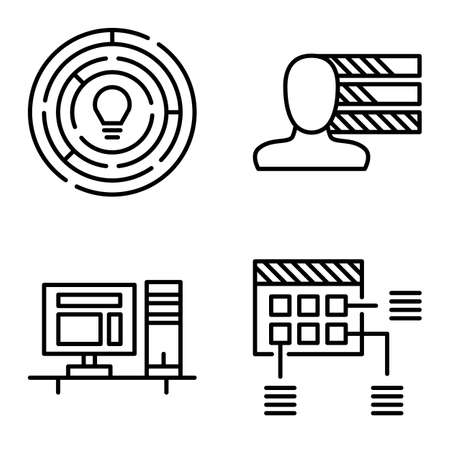 personality development: Set Of Project Management Icons On Personality, Creativity And Planning. Project Management Vector Icons For App, Web, Mobile And Infographics Design.