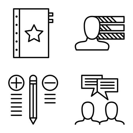 personality development: Set Of Project Management Icons On Personality, Idea Brainstorming And Best Solution. Project Management Vector Icons For App, Web, Mobile And Infographics Design. Illustration