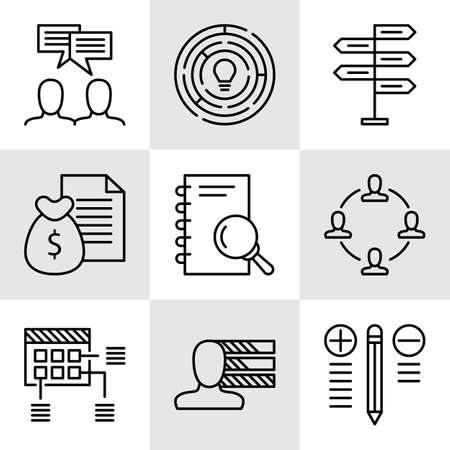 personality development: Set Of Project Management Icons On Decision Making, Personality And Team Meeting. Project Management Vector Icons For App, Web, Mobile And Infographics Design.