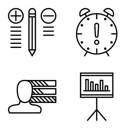 personality development: Set Of Project Management Icons On Personality, Best Solution And Deadline. Project Management Vector Icons For App, Web, Mobile And Infographics Design.