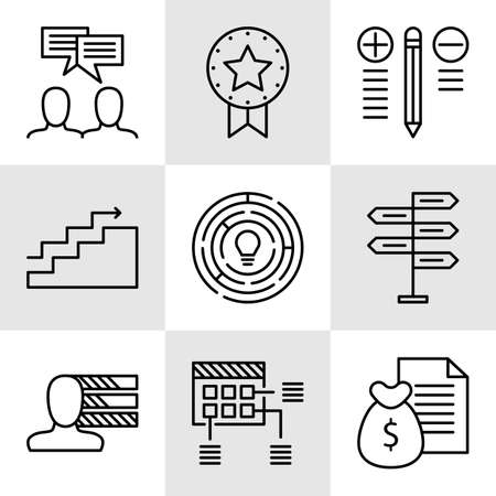 decision making: Set Of Project Management Icons On Decision Making, Personality And Team Meeting. Project Management Vector Icons For App, Web, Mobile And Infographics Design.