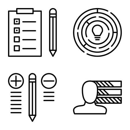 personality development: Set Of Project Management Icons On Personality, Creativity And Best Solution. Project Management Vector Icons For App, Web, Mobile And Infographics Design.