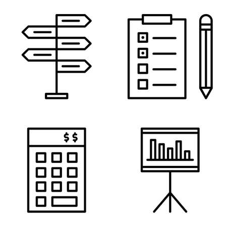 task list: Set Of Project Management Icons On Decision Making, Task List And Investment. Project Management Vector Icons For App, Web, Mobile And Infographics Design. Illustration