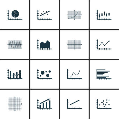 increment: Set Of Graphs, Diagrams And Statistics Icons.