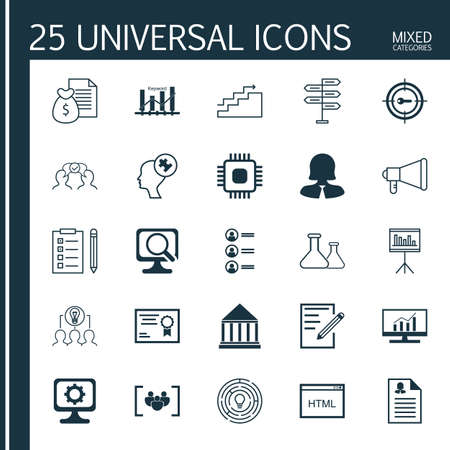 keyword research: Set Of 25 Universal Icons On Keyword Marketing, Cooperation, Education Center And More Topics. Vector Icon Set Including Market Research, Coding, Reminder And Other Icons.
