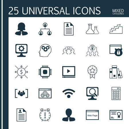 collaborative: Set Of 25 Universal Icons On Cooperation, Brain Process, Certificate And More Topics. Vector Icon Set Including Collaborative Solution, Money, Questionnaire And Other Icons.