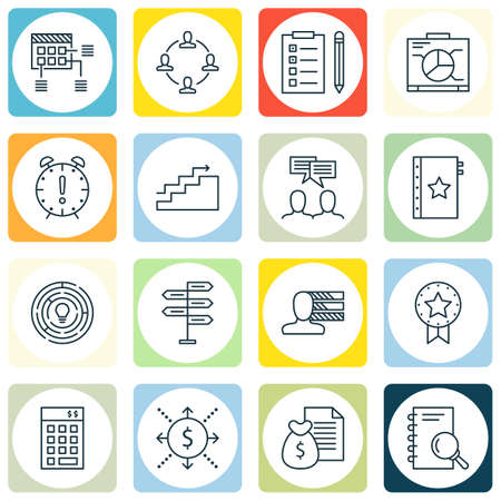 Set Of Project Management Icons On Collaboration, Personal Skills, Investment And More.