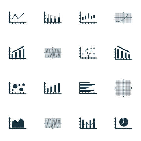 Set Of Graphs, Diagrams And Statistics Icons.