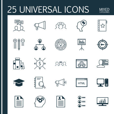 topics: Set Of 25 Universal Icons On Discussion, Job Applicants, Brain Process And More Topics.