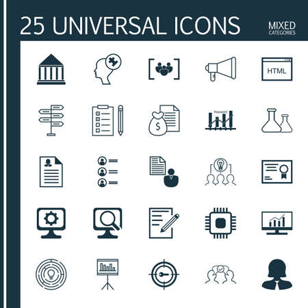 collaborative: Set Of 25 Universal Icons On Certificate, Chip, Collaborative Solution And More Topics. Vector Icon Set Including Announcement, Paper, Keyword Optimisation And Other Icons.