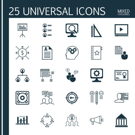 optimisation: Set Of 25 Universal Icons On Keyword Marketing, Decision Making, Collaborative Solution And More Topics. Vector Icon Set Including Collaborative Solution, Report, Keyword Optimisation And Other Icons. Illustration