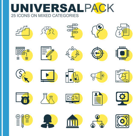 topics: Set Of 25 Universal Icons On PPC, Chemical, Collaboration And More Topics. Illustration