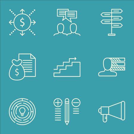 Set Of Project icônes de gestion sur la discussion, la prise de décision, les compétences personnelles et plus. Comprend l'argent, Discussion, innovation et d'autres icônes vectorielles.