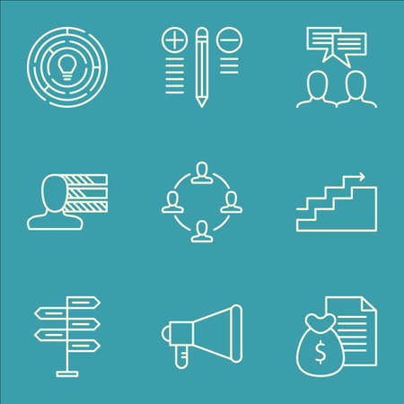personal decisions: Set Of Project Management Icons On Discussion, Report, Decision Making And More. Includes Personal Skills, Collaboration, Decision Making And Other Vector Icons. Illustration