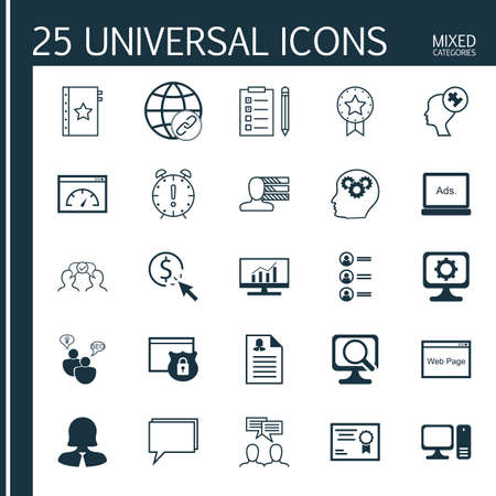 topics: Set Of 25 Universal Icons On Conference, Business Woman, Computer And More Topics.