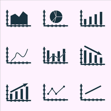 dynamic growth: Set Of Graphs, Diagrams And Statistics Icons.