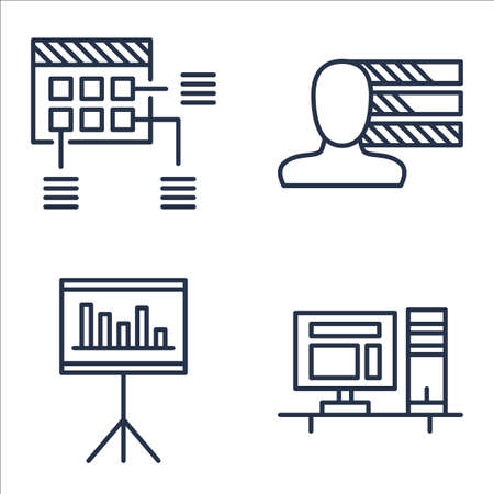 personality: Set Of Project Management Icons On Workspace, Statistics, Personality And More. Illustration