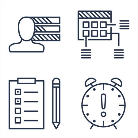 personality: Set Of Project Management Icons On Personality, Deadline, Task List And More. Illustration