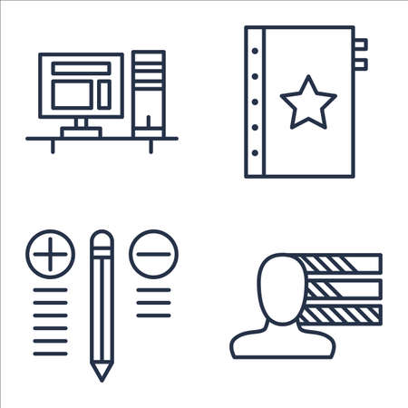 personality: Set Of Project Management Icons On Workspace, Best Solution, Personality And More. Illustration