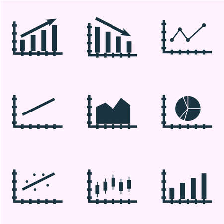 Set Of Graphs, Diagrams And Statistics Icons. Premium Quality Symbol Collection.