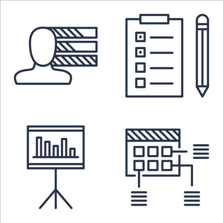 personality development: Set Of Project Management Icons On Task List, Personality, Planning And More.
