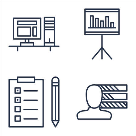 personality: Set Of Project Management Icons On Personality, Task List, Statistics And More. Illustration