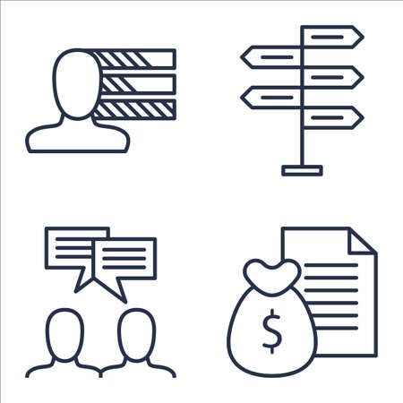 more money: Set Of Project Management Icons On Team Meeting, Personality, Money Revenue And More. Illustration