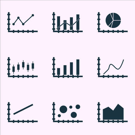 dynamic trend: Set Of Graphs, Diagrams And Statistics Icons.