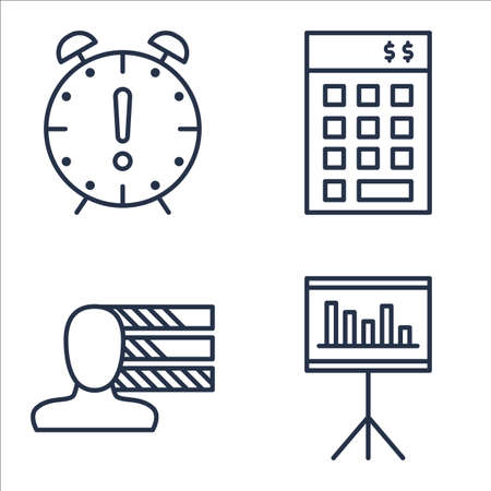personality development: Set Of Project Management Icons On Personality, Statistics, Deadline And More.
