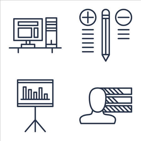 Set Of Project Management Icons On Workspace, Personality, Best Solution And More.