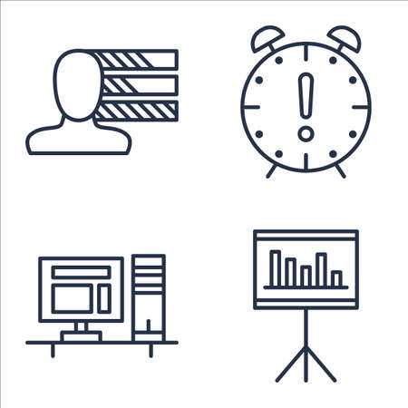 personality: Set Of Project Management Icons On Personality, Deadline, Workspace And More.