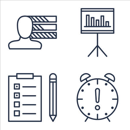 personality: Set Of Project Management Icons On Task List, Personality, Deadline And More.