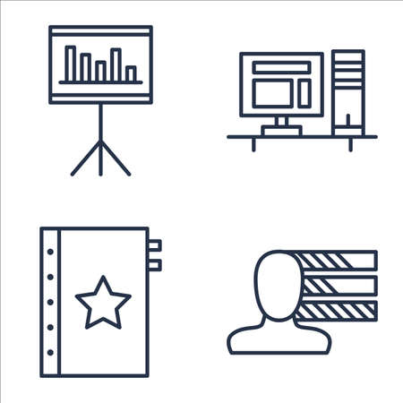personality: Set Of Project Management Icons On Workspace, Personality, Quality Management And More.
